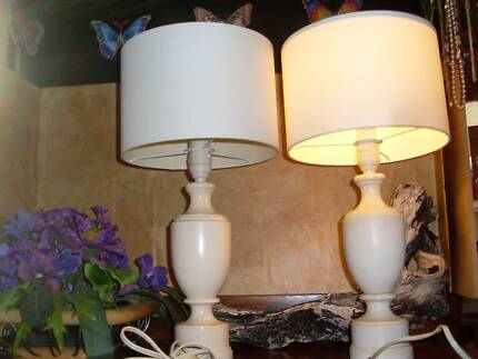 A pair vintage table desk wooden lamp paint cream color white