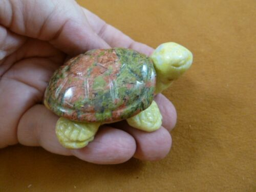 (Y-TUR-LAT-711) green + yellow TURTLE tortoise 2 piece gemstone carving FIGURINE