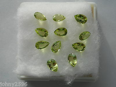 peridot gemstone 6x4x2.5mm pear shaped