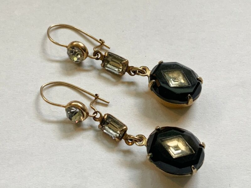 Antique Art Deco Gold Filled Pierced Dangle Earrings with Black Onyx & Paste
