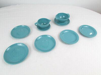Lot of Vtg Boonton Ware Melamine Melmac Turquoise Blue Plates Saucer Winged Bowl
