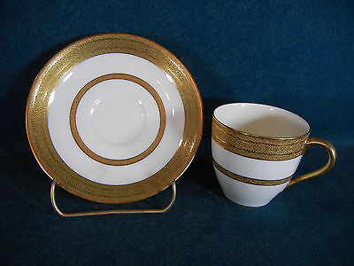 Royal Doulton H2907 Heavy Gold Encrusted Demitasse Cup And Saucer Set S