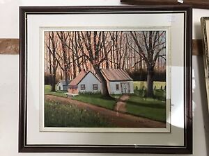 Original oil painting by N.Paquette Country Scene. Cottage