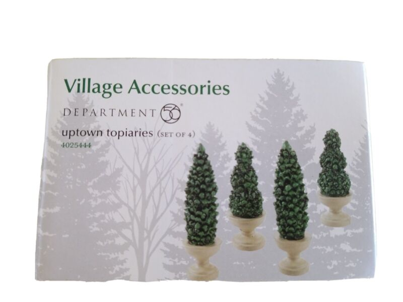 Dept 56 Uptown Topiaries 4025444 Set of 4 Village Accessories NIB