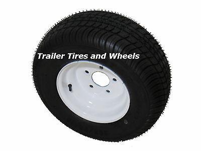 """205/65-10 LRE Bias Trailer Tire on 10"""" 5 Lug White Trailer Wheel 20.5x8.0-10"""