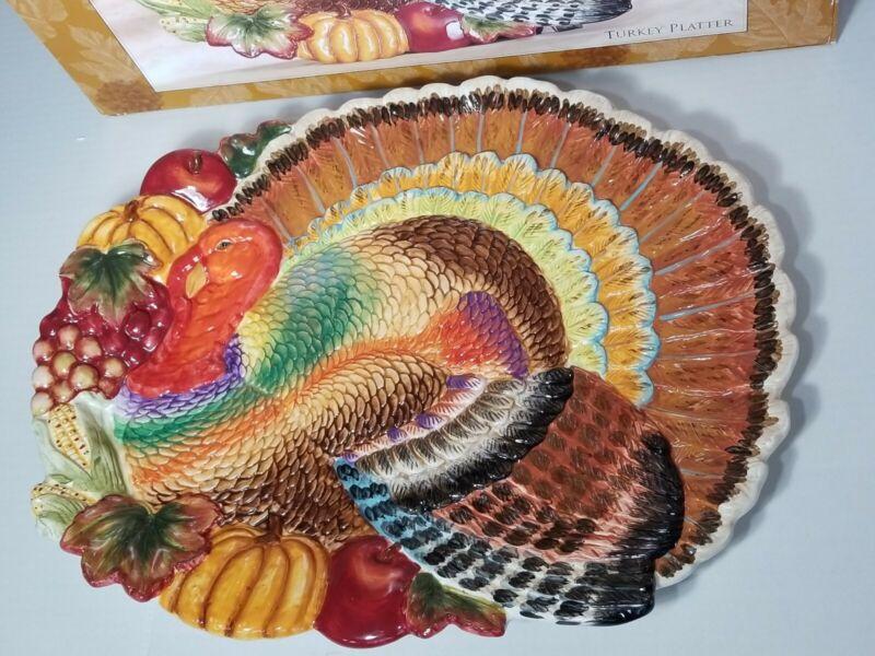 VTG Signature Turkey Thanksgiving Platter Serving Tray. Turkey tray