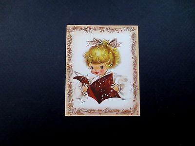 Unused Hallmark Xmas Greeting Card Precious Blonde Girl Reading a Holiday Book
