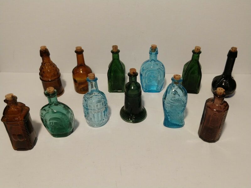 "Vtg. WHEATON Mini Apothecary Bottles Colored Glass Lot Of 12 Halloween 3"""