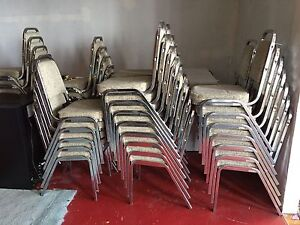 Cushioned chrome stacking chairs