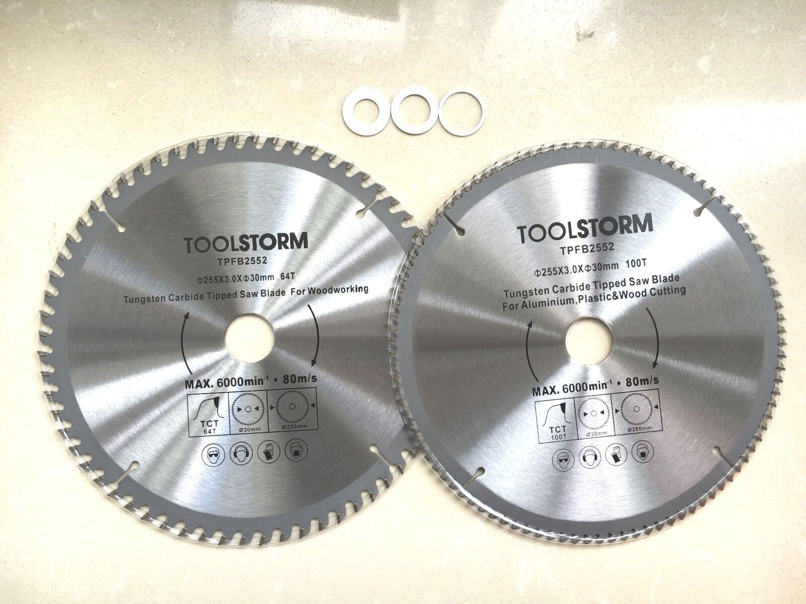 2x mitre saw table saw blade 255mm 100t60t fit makitahitachiozito 2x mitre saw table saw blade 255mm 100t60t fit makitahitachiozitobosch etc30mm bore with 3 reduction rings tct greentooth Images