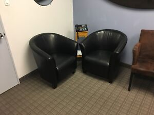 Black leather tub chairs (2)