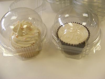 BULK 100 x SINGLE clear hinged CUP CAKE / MUFFIN clams pods holders cases boxes - Bulk Cupcake Boxes