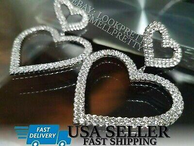 Women's 2020 Double Heart Crystal Earrings Silver Gold Rhinestone Dangle Drop Gold Rhinestone Earrings
