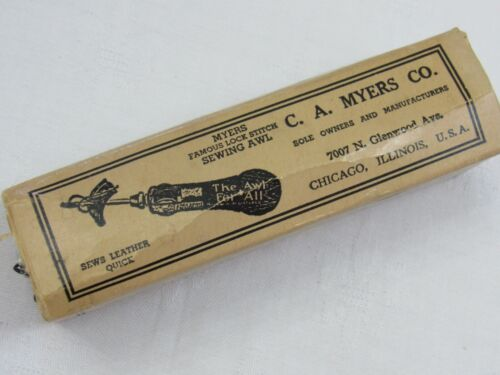 Myers Famous Lock Stitch SEWING AWL Leather Tool ORIG BOX & Accessories