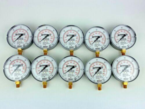 """New Lot of 10 Ferguson Sprinkler Air/Water 4"""" Pressure Gauge 300PSI 1/4 NPT"""