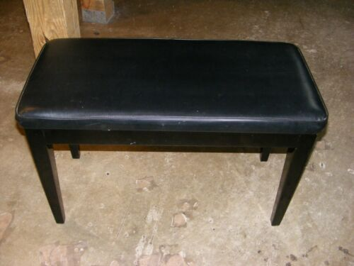 Ebony thick Padded Piano Bench With Straight LEGS and Storage