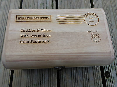 Personalised Engraved Wooden Treasure Chest Christmas Eve Treats Box 30cm stamp - Stamp Treasure Box