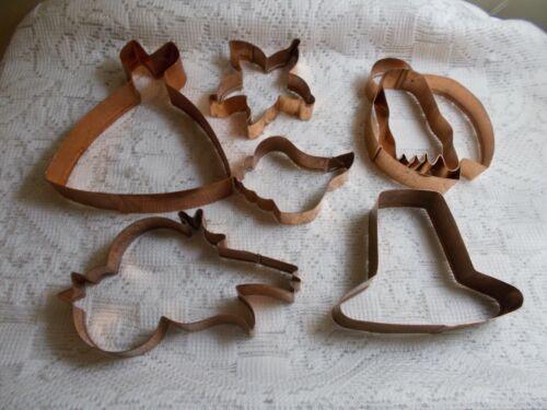 Braman Copper Cookie Cutters - Lot of 6 - Dress, Hat, Bird & Etc