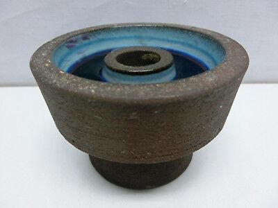 Keramik Kerzenständer braun / blau 10cm gemarkt, Kerzenhalter #1343