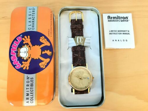 Armitron Garfield Gold FacedWatch W/date In Original Tin Box With Papers