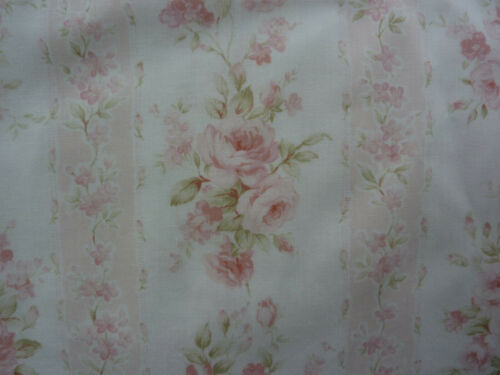 Mary Rose 3 Collection Wallpaper Stripe Faded Pink Roses Fabric Remnant 1/2  Yd