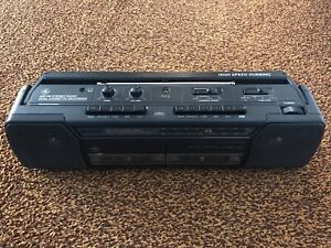 GE AM-FM Stereo Radio Dual Cassette Recorder