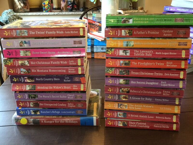 Lot of 23 LARGER PRINT Harlequin Romance Novels Steeple Hill Amish Cowboy