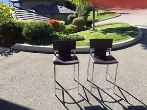 Beautiful brown leather & chrome stools - EXCELLENT condition.