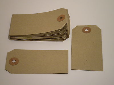 100 Unstrung Tags 96mm x 48mm Luggage Gift Price LARGE Strong Manilla Labels