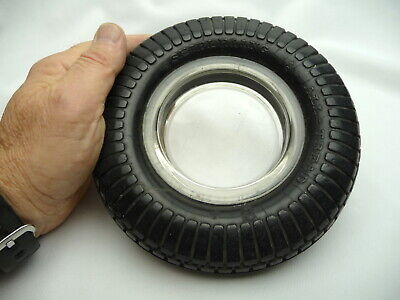 Vintage Seiberling All-Tread Tire Ashtray with Glass Insert - 1950's
