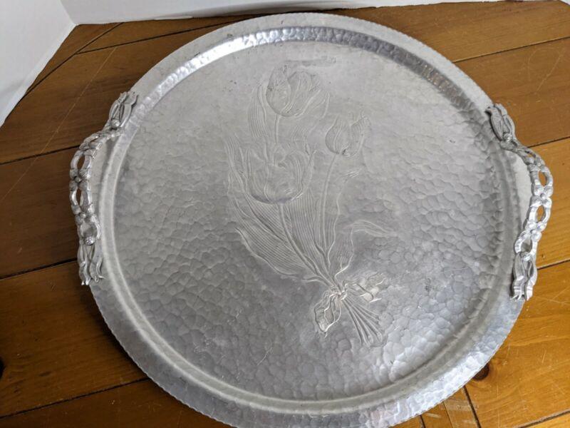 Antique 1950 RODNEY KENT 17 3/4 Hand Wrought Aluminum Tulip Tray Serving Platter
