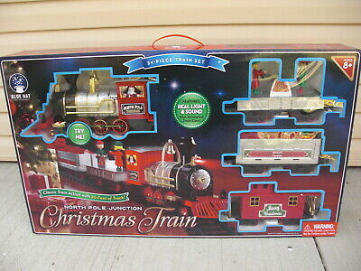 NEW SEALED Blue Hat North Pole Junction Christmas Train 34-Piece Train Set