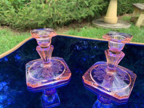 Adam Pink Candlesticks Pair Jeannette Depression Glass 1932-34 ART DECO NOUVEAU