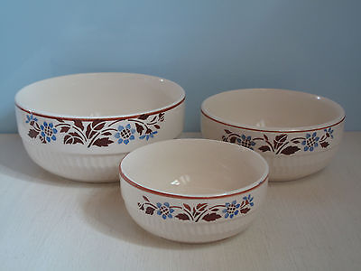 Alt Schüssel-Set 3x Schüssel Weiß Blau Braun Blumen Keramik Shabby Schale
