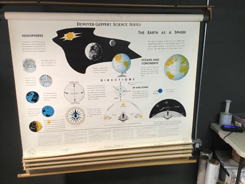 Denoyer Geppert 1963 School Classroom Map Earth Space Science 5 Panels HUGE 5-Ft