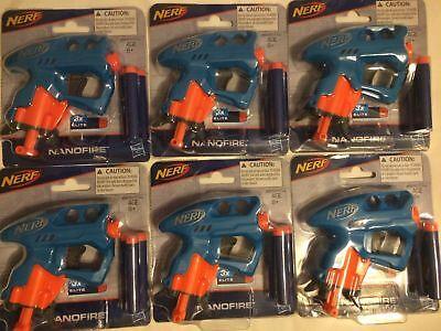 NEW Lot of 6 NERF Blue NANOFIRE Guns Blasters w/ 18 Elite Darts party jolt fill