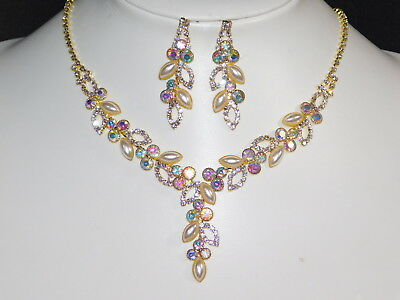 - AB Iridescent Rhinestone Ivory Pearl Gold Necklace and Earrings Bridal Set