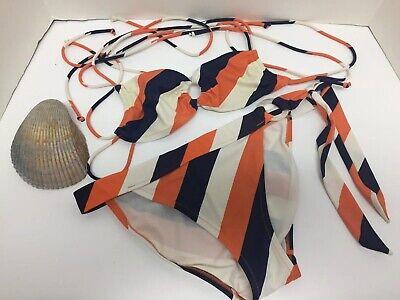 2 Piece Navy Ring - Victoria's Secret String Bikini 2 Piece Orange Navy Stripe Ring S/M Side Tie