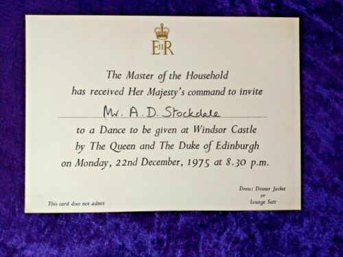 Fine 1975 Queens Invitation to a dance at Windsor Castle