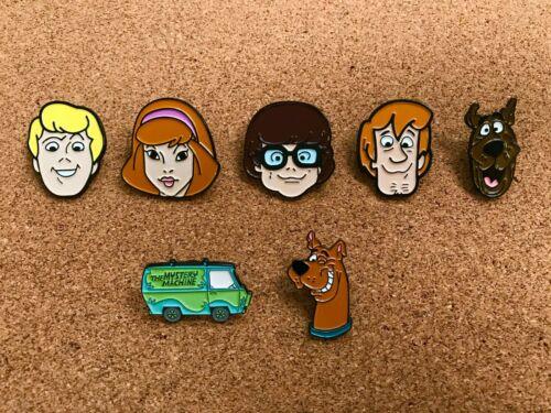 SET OF 7 Scooby-Doo Enamel Pins - Fred, Daphne, Velma, Shaggy, Scooby, Mystery M