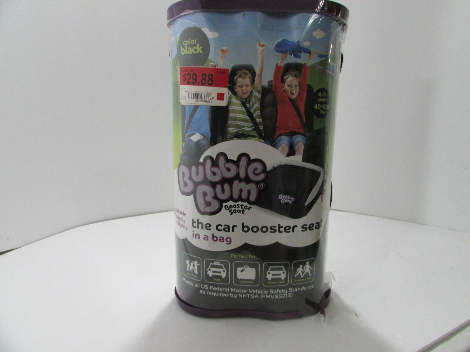 inflatable backless booster car seat w storage