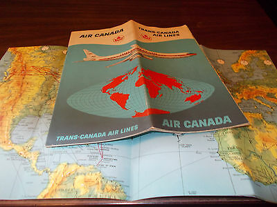 1961 Trans Canada Airlines Route Map And Brochure   Nice Graphics