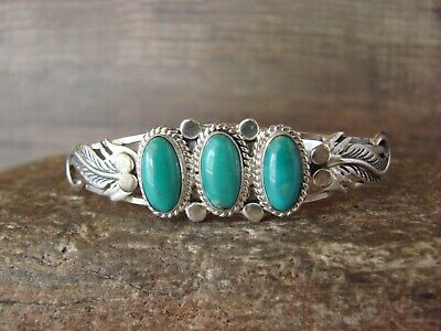 Navajo Sterling Silver Turquoise 3 Stone Feather Cuff Bracelet by Vandever
