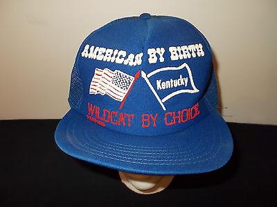 VTG-1985 American By Birth Kentucky Wildcat basketball Star Stripes hat sku29