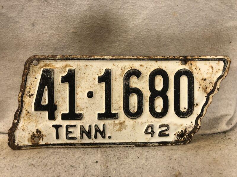 Vintage 1942 Tennessee License Plate