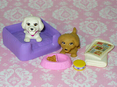 Mattel Barbie Doll Accessory Lot PUPPY DOGS with Accessories Pet Lot BED BOWL ++