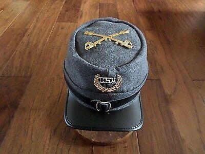 Confederate Civil War Hats - CIVIL WAR CONFEDERATE C.S.A KEPI CAVALRY HAT GREY WOOL KEPI SWORDS C.S.A BADGE