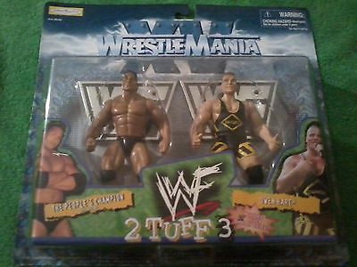 1998 Jakks Pacific Wwf Wrestlemania 2Tuff3 The Rock   Owen Hart Set  New