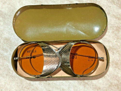 NOS Antique Amber Willson Goggles Sunglasses Spectacles Steampunk Safety Glasses