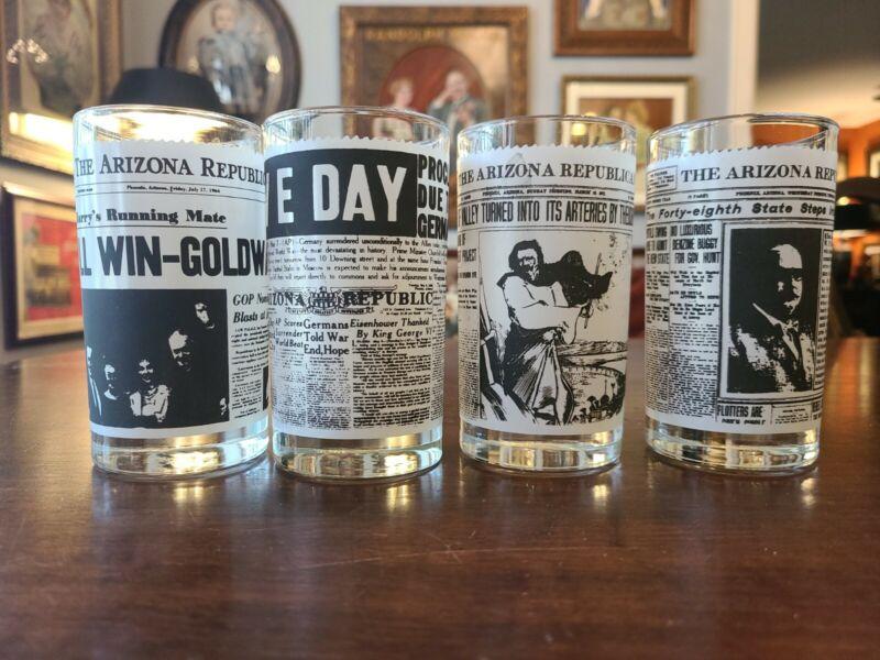 "(4) FOUR ""THE ARIZONA REPUBLIC"" HEADLINE DRINKING GLASSES~5"" TALL~2.75""DIA"